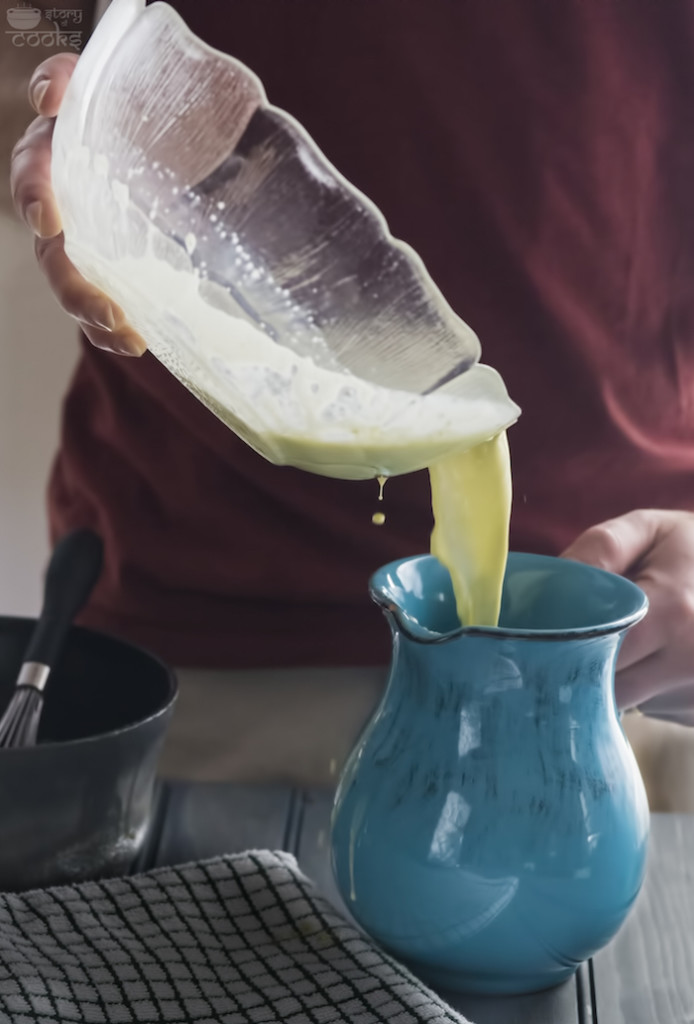 pouring custard