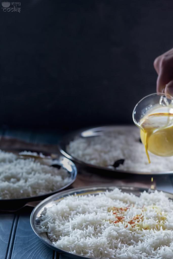 biryani rice prep