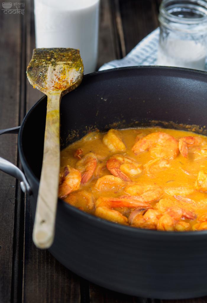 shrimp curry before adding milk