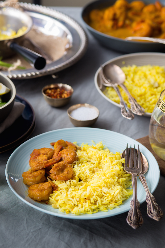 recipe of shrimp malaikari and saffron pilaf saffron pilaf 2